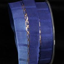 navy blue wired ribbon buy navy and royal blue woven taffeta with gold link print wired