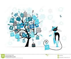 sale tree fashion cat with shopping bag royalty free