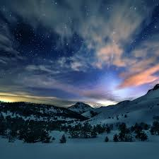 sunny snowy mountains wallpapers aurora star sky snow mountain winter nature ipad air wallpaper