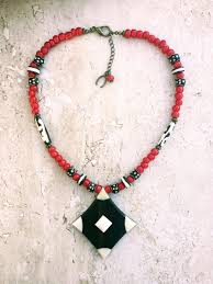 heart bead necklace images African necklace trade beads necklace red white black necklace JPG