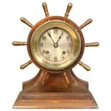 Nautical Desk Clock Rare Novelty Nautical Revolving Ships Wheel Desk Clock Or