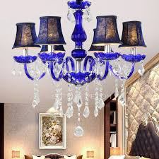 Chandeliers With Shades And Crystals by Boutique 6 Light Fabric Shade Blue Chandelier Crystals