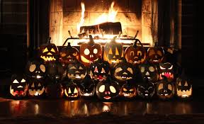 decor haunted house decorations with rows of pumpkins near the