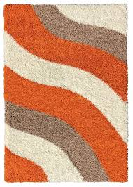 Orange Modern Rug Soft Shag Area Rug 7x10 Geometric Striped Orange Ivory