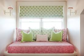 green bench cushion pink and green window seat transitional girl s room
