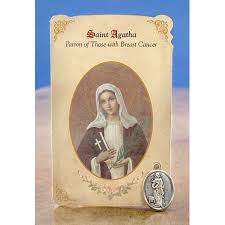 catholic gifts and more st agatha breast cancer holy card w medal catholic gifts