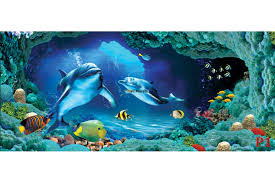 mural 3d visualization sea bottom with dolphins in 2 colors wallpapers mural 3d visualization sea bottom with dolphins in 2 colors