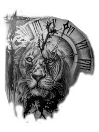 lion and clock tattoo transparent tattoos pinterest lions