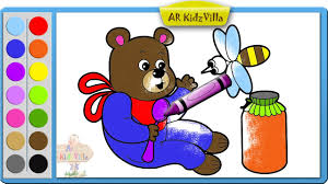 color teddy bear and honey bee coloring page and learn colors for