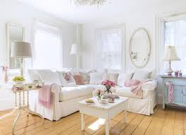 living room with white shabby chic wall color and sectional sofa