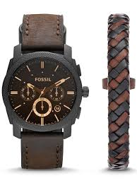 fossil man bracelet images Fossil machine chrono brown leather mens watch bracelet set jpg