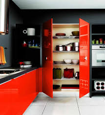 red and black kitchen design with kitchen storage and plate