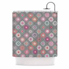 Pink And Gray Shower Curtain by Kess Inhouse Jolene Heckman Mini Floral Pink Gray Shower Curtain
