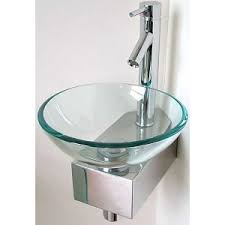 Chrome Pedestal Wall Mounted Round Glass Sink Basin Bowl On Chrome Pedestal