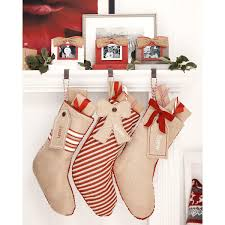 Mud Pie Christmas Ornaments Burlap Stocking Banded With Gift Tag Lillian Vernon