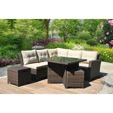 Patio Table Umbrella Walmart by Mainstays Ragan Meadow Ii 7 Piece Outdoor Sectional Sofa Seats 5