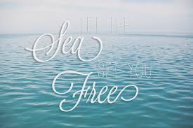 let the sea set you free travel quote print ocean photo