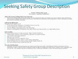 Seeking Description S Treloar Ph D April 29 29 20111 Therapeutic Groups