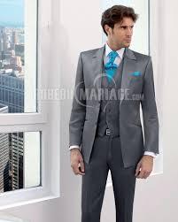 costume mariage homme gris veste avec deux boutons costume de marié pas cher robe209855