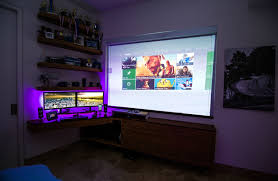 desks for gaming consoles nature custom dual monitor setup projector monitor consoles and pc