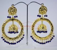 punjabi jhumka earrings blue gold plated punjabi traditional jewellery earrings
