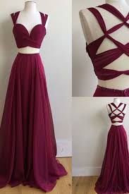dresses for prom crimson chiffon two pieces dresses unique back dresses for