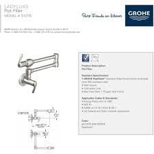grohe 31075sd0 ladylux 3 stainless steel pot filler kitchen