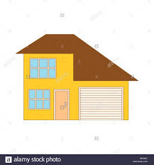 two storey house yellow two storey house with garage icon stock vector art