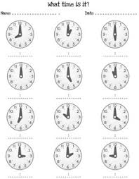 telling time by the hour worksheets u2014 printable treats com