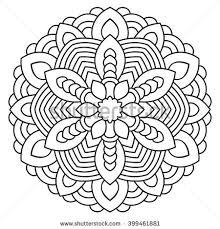 symmetrical mandala coloring page adults turkish stock vector