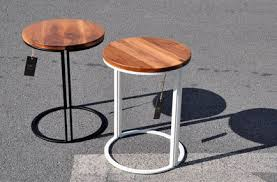 round wood and metal end table wonderful contemporary side table wooden metal round shade berk