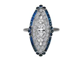 engagement ring art deco oval diamond engagement ring blue