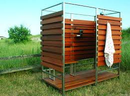 sleek u0026 sustainable prefab outdoor shower assembles in 30 minutes