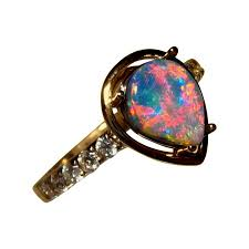 black opal engagement rings black opal ring with diamonds 14k gold pear flashopal