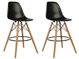 set of 2 eames style dsw black plastic 26 inch counter stool with