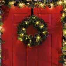 lighted door decorations pre lit wreath garland tree