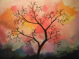 abstract tree in acrylic painting by burroughs