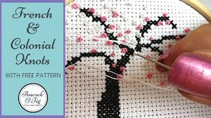 cross stitch tutorial knots and colonial knots