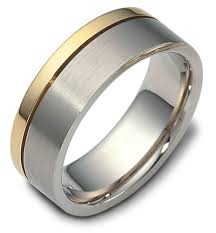 mens two tone wedding bands mens wedding band with gold stripe this 14k gold men s