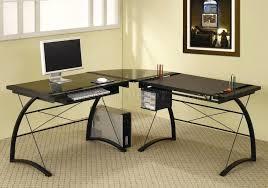 Black Glass Top Computer Desk Metal Computer Desk Black Glass Top Metal Base Modern Home Office