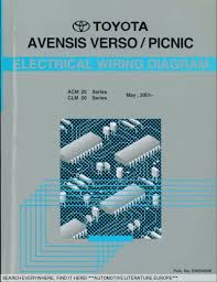 2001 toyota avensis verso picnic elektrik schaltpläne electrical
