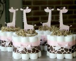 Pink And Brown Baby Shower Decorations Giraffe Centerpiece Etsy