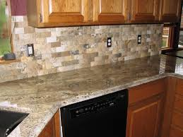 kitchen decorating using light brown stone tile kitchen backsplash