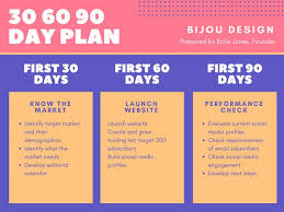 violet pink and yellow 30 60 90 day plan presentation templates