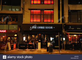living room restaurant and bar at night manchester uk stock photo
