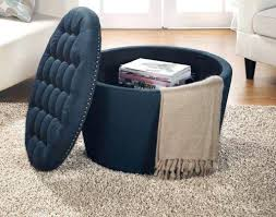 blue storage ottoman s thresholdtm round tufted storage ottoman