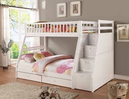 two floor bed modern bedroom with white bunk beds stairs two large storage