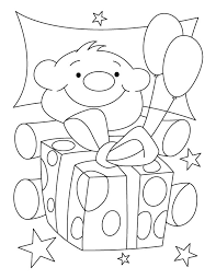 cute teddy bear birthday gift coloring pages download