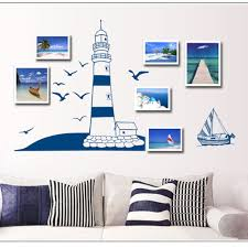 lighthouse home decor new design wall sticker mediterranean lighthouse style blue color