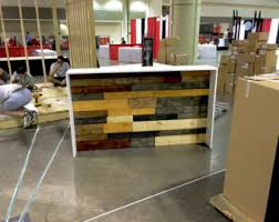 Industrial Reception Desk Distressed Weathered Wood Plank Reception Desk In Stock